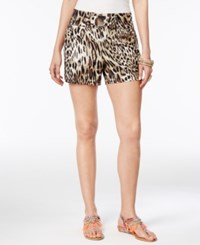 Thalia Sodi Printed Buckle Detail Shorts Only At Macy's Taupe Combo