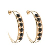 Hissia Chloe Onyx Hoop Earrings