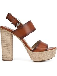 Michael Kors Braided Raffia Platform Sandals Brown