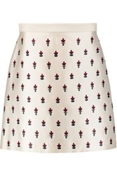 Tory Burch Embellished Silk And Wool Blend Twill Mini Skirt Ivory