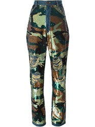 Ashish Sequin Camouflage Jeans Green