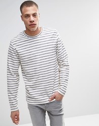 Adpt Long Sleeve Top With Faded Stripe And Curved Hem Detail Mood Indigo Blue
