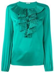P.A.R.O.S.H. Ruffled Neck Blouse Green