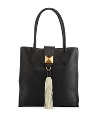 Badgley Mischka Bailey Leather Tassel Tote Bag Black