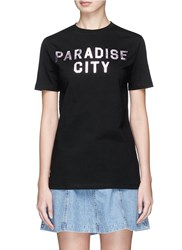 Etre Cecile 'Paradise City' Metallic Foil Print T Shirt Black