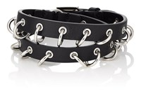 Valentino Garavani Pierced Double Wrap Leather Bracelet Black