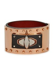Givenchy Shark Lock Black Leather Cuff Copper