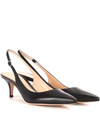 Gianvito Rossi Jackie Leather Sling Back Pumps Black