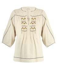 Masscob Talitha Embroidered Silk Top Ivory