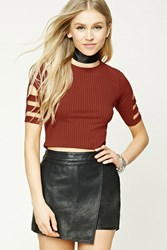 Forever 21 Ladder Cutout Crop Top Rust