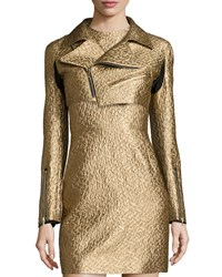 Creatures Of The Wind Metallic Cropped Moto Jacket Gold Women's