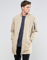 Brave Soul Long Line Jacket Beige
