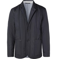 Dunhill Leather Trimmed Quilted Shell Blazer Blue