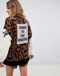 Native Rose Oversized Jumper With Power Slogan Patch In Leopard Multi
