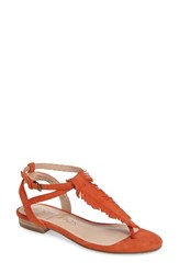 Sole Society Women's Mara Fringe Thong Sandal Orange Sorbet Suede