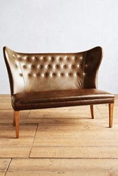 Anthropologie Premium Leather Wingback Bench Armless Caramel