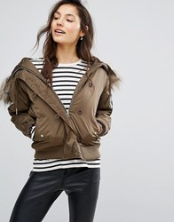 Pull And Bear Pullandbear Faux Fur Hooded Aviator Bomber Khaki Green