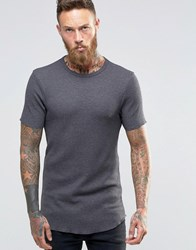 Asos Longline Muscle T Shirt In Waffle With Curved Hem In Grey Olive Green
