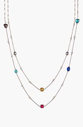 Women's Alainn Mixed Extra Long Station Necklace Rose Gold Multi