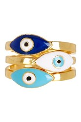Sterling Forever Evil Eye Ring 3 Piece Set Metallic