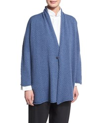 Eskandar One Button Scrunch Collar Cardigan Black