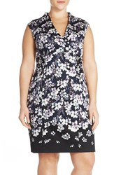Plus Size Women's Adrianna Papell Print Stretch Cotton High Neck Sheath Dress