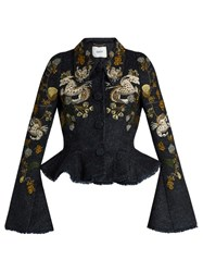 Erdem Esha Floral Embroidered Plaid Peplum Jacket Blue Multi