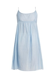 Thierry Colson Slip Cotton And Silk Blend Mini Dress Blue