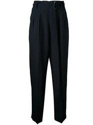 Cityshop High Waisted Cropped Trousers Blue