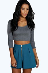Boohoo Woven Pleated Zip Through Short Teal