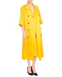Victoria Beckham 3 4 Sleeve Double Breasted Pleated Coat Yellow