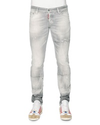 Dsquared2 Slim Fit Distressed Denim Jeans Light Gray