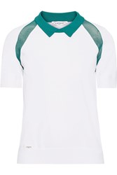 L'etoile Sport Medea Two Tone Mesh Paneled Stretch Knit Polo Shirt White