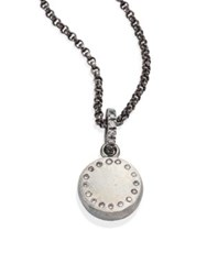 Rene Escobar Small Diamond And Sterling Silver Round Pendant Necklace
