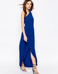Bcbgmaxazria Bcbg Maxazria One Shoulder Maxi Dress With Overlay In Blue Royal Blue
