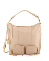 Poppy Leather Hobo Bag Latte Badgley Mischka