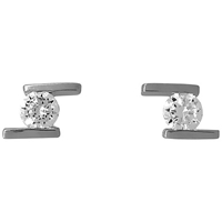 Jools By Jenny Brown Offset Side Bar Cubic Zirconia Stud Earrings