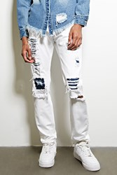 Forever 21 Dope Distressed Underlay Jeans White