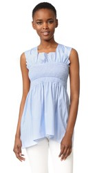 Victoria Beckham Smocked Sleeveless Top Powder Blue