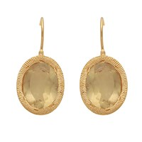 Carousel Jewels Engraved Gold And Oval Lemon Topaz Earrings Gold Yellow Orange