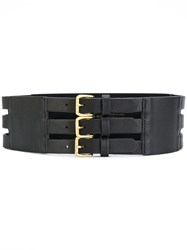 B Low The Belt Triple Buckle Calf Leather L Black