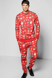 Boohoo Over Xmas Print Tracksuit Red