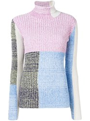 3.1 Phillip Lim Marled Mixed Patchwork Turtleneck Blue
