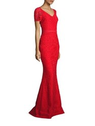 St. John Embroidered Lace Gown African Red