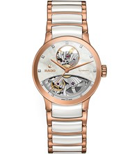 Rado R30248902 Centrix Rose Gold And Mother Of Pearl Open Heart Watch