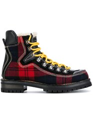 Dsquared2 Tartan Mountain Boots Cotton Calf Leather Acrylic Rubber