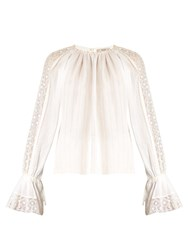 Etro Lace Insert Bell Sleeved Blouse Ivory