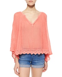 Golden By Jpb Nuevo Cosmo Lace Hem Top Coral