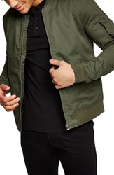 Topman Muscle Fit Bomber Jacket Olive