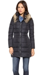 Add Down Down Coat With Fur Collar Black